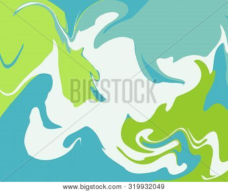 The Style Of Ebru. Green, Blue And White Colors. Hand Drawn Vector Background. Fashionable Print For