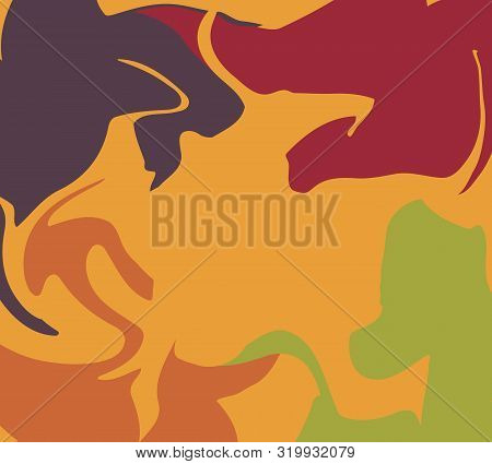 The Style Of Ebru. Brown, Orange And Green Colors. Hand Drawn Vector Background. Fashionable Print F