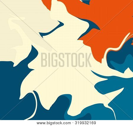 The Style Of Ebru. Blue, Orange And Beige Colors. Hand Drawn Vector Background. Fashionable Print Fo