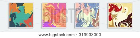 Set Four Backgrounds. The Style Of Ebru. Green Orange, Yellow And Pink Colors. Hand Drawn Vector Bac