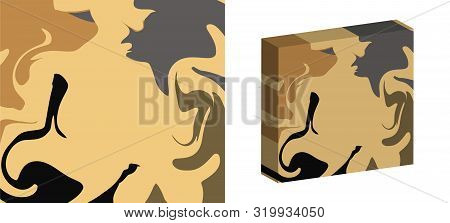 The Style Of Ebru. Beige, Gray And Dark Colors. Hand Drawn Vector Background. Fashionable Print For