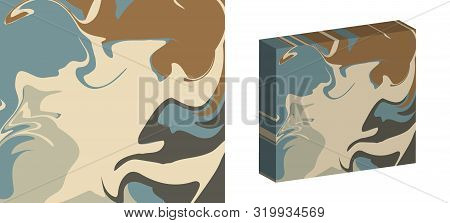 The Style Of Ebru. Blue, Beige And Brown Colors. Hand Drawn Vector Background. Fashionable Print For