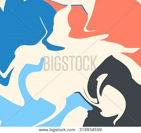 The Style Of Ebru. Blue, White And Pink Colors. Hand Drawn Vector Background. Fashionable Print For