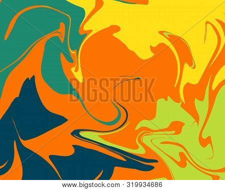The Style Of Ebru. Green, Orange And Yellow Colors. Hand Drawn Vector Background. Fashionable Print