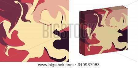 The Style Of Ebru. Red, Beige And Pink Colors. Hand Drawn Vector Background. Fashionable Print For T