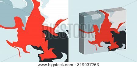 The Style Of Ebru. Blue, Red And Dark Colors. Hand Drawn Vector Background. Fashionable Print For Te