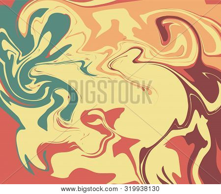 The Style Of Ebru. Green, Yellow, Beige And Pink Colors. Hand Drawn Vector Background. Fashionable P
