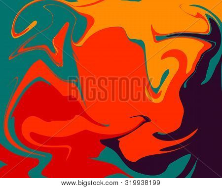 The Style Of Ebru. Green, Orange, Blue And Yellow Colors. Hand Drawn Vector Background. Fashionable