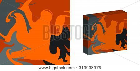 The Style Of Ebru. Gray, Orange And Dark Colors. Hand Drawn Vector Background. Fashionable Print For
