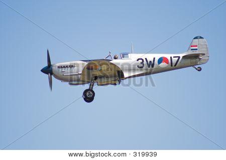Spitfire In Flight At A Dutch Airshow
