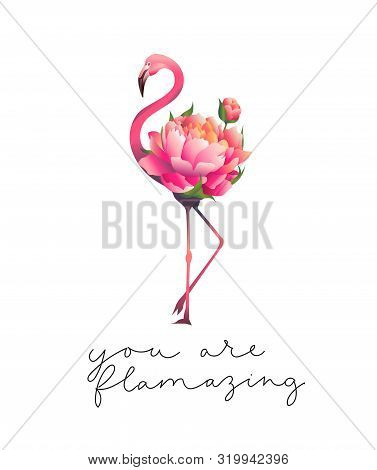 You Are Flamazing Inspirational Cute Card Vector Illustration. Motivational Quote With Lettering Mea