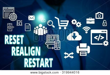 Handwriting text Reset Realign Restart. Concept meaning Life audit will help you put things in perspectives Male human wear formal work suit presenting presentation using smart device. poster