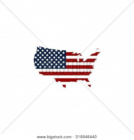 Usa Map Icon. Usa Map With Flag America. United States Of America Symbol. Usa Map Isolated On White