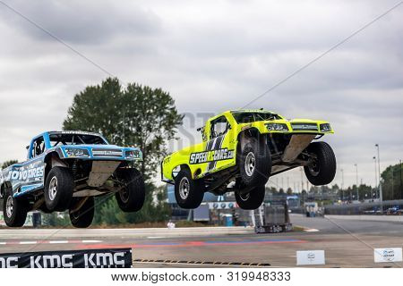 August 30, 2019 - Portland, Oregon, USA: The Super Stadium Truck Challenge teams take to the track to practice for the Grand Prix of Portland at Portland International Raceway in Portland Oregon.