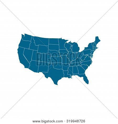Usa Map Icon. Usa Map Vector Icon. United States Of America Symbol. Usa Map Isolated On White Backgr