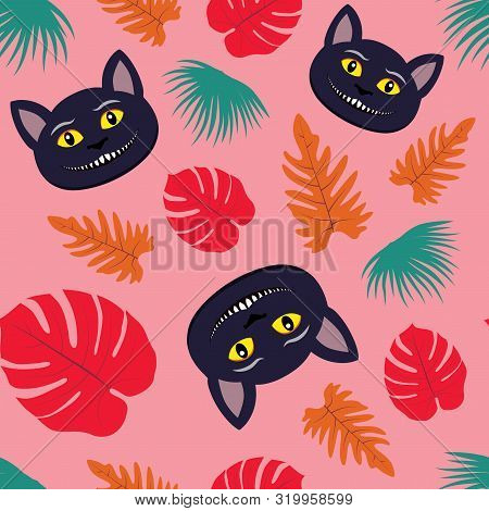 Vector Illustration Of Seamless Pattern With Smiling Cheshire Cat And Tropical Leaves. Tricky Animal