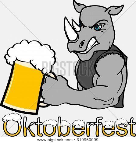 Oktoberfest Strong Rhino Cartoon In Vector Format Very Easy To Edit