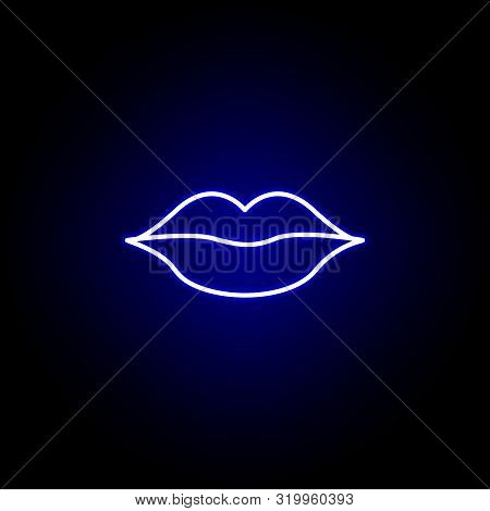 Lips Line Neon Icon. Elements Of Beauty And Cosmetics Illustration Icon. Signs And Symbols Can Be Us