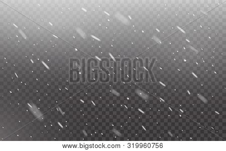 Snowfall Realistic On Transparent Backdrop. Christmas Falling Snowflakes. Defocused Snow On Dark Tem
