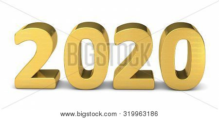 New Year Text In Gold 2020 3d Rendering