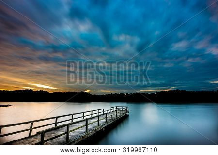Overcast Sunrise At The Lake Lake Lamar Bruce Is A 300 Acre Lake Located Outside Of Saltillo, Missis