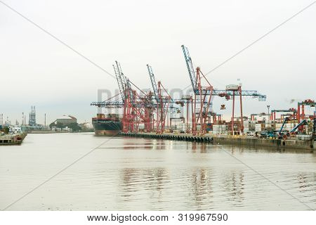 Buenos Aires, Argentina - Aug. 28, 2019: Container Ship In Dock In The Port Of Buenos Aires. The Msc