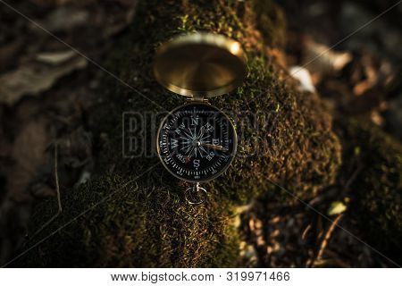 Small Compass Device On Mossy Rock. Forest Hiking Theme. Necessary Equipment On A Trailhead.