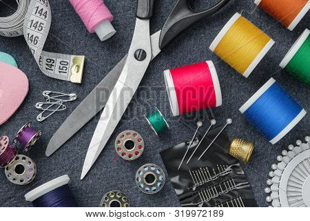Sewing Items: Tailoring Scissors, Measuring Tape, Thimble, Spools Of Thread, Including Pins, Needles