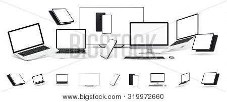 Gadgets Mockups Set Of 3d Realistic Style (tablet, Tv, Laptop,mobile Cellphone, Pc Monitor). Mockup