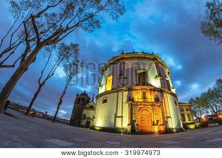Porto Portugal Night City Skyline At Mosteiro Da Serra Do Pilar