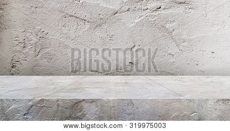 Grey Concrete Texture Table Product Display Background.3d Perspective Studio Photography Stand.banne