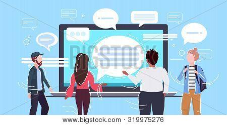 People Using Laptop Computer Messenger Application Chat Bubble Communication Concept Rear View Men W
