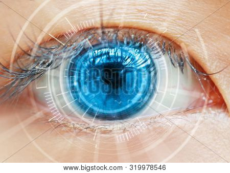 Close Up Women Eye Scanning Technology In The Futuristic, Operation, Lasik, Cataract.