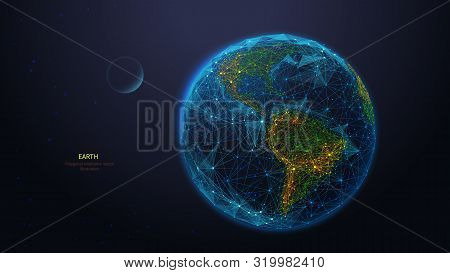 Earth Globe Low Poly Art Illustration. 3d Polygonal Planet. Outer Space Concept With Connected Dots