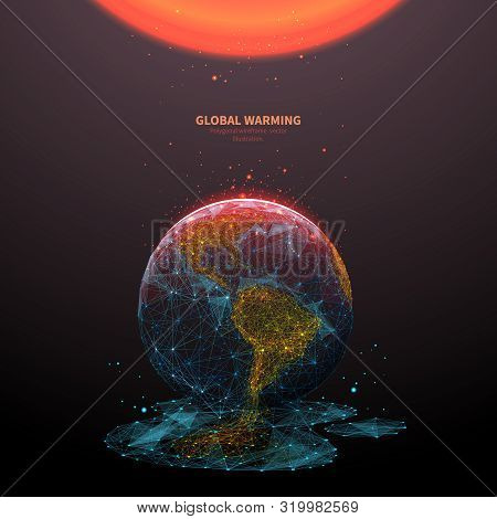 Global Warming Low Poly Banner Template. 3d Polygonal Melting Earth Planet. Ecological Problem Conce