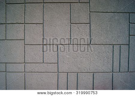 Pattern, Pattern Of White Concrete Blocks. Wall Or Sidewalk. Rough Texture. Rhythm, Repetition Of Sq