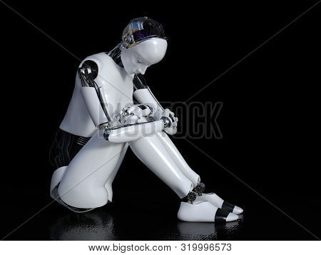 3d Rendering Of A Female Robot Sitting In Solitude On The Floor And Looking Sad Or Depressed. Black