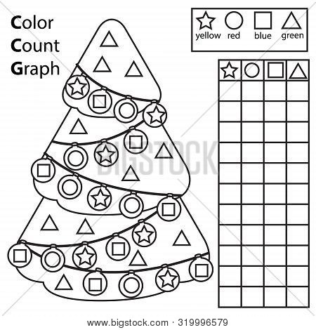 Color, Count And Graph. Educational Children Game. Color Christmas Spruce Tree And Counting Shapes.