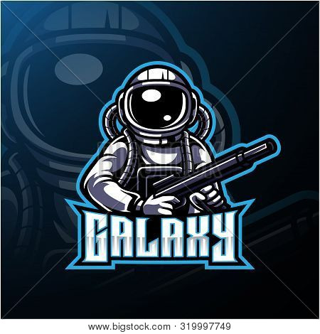 Galaxy astronaut esport mascot logo with text poster