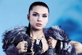 Warrior woman. Fantasy fashion idea. poster