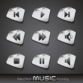 Set of glossy music web 2.0 icons or buttons in black and white color on transparent background. EPS 10. Vector illustration. poster