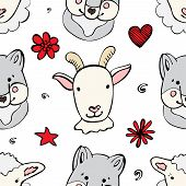 Seamless pattern with cute wild animals. Funny repetitive pattern with cute wolf, sheep and goat. Vector illustration for your graphic design. poster