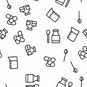 Dosage, Dosing Drugs Vector Seamless Pattern Illustration poster