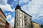 A rebuilt historic, Art Nouveau tenement house in Poznan poster