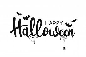 Happy Halloween Lettering. Handwritten Calligraphy With Spider Web And Bats For Greeting Cards, Post