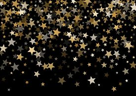 Magic Gold Vector Star Background. Gold Falling Sparkle Pattern On Black. Christmas, New Year, Birth