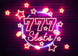 Casino Slots Signs. Neon Logos Slot Machine Gambling Emblem, The Bright Banner Neon Casino For Your