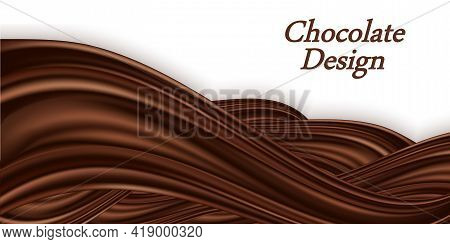 Chocolate Swirl Wave On White Background. Smooth Satin Texture, Creamy Chocolate  Color Flow. Twiste