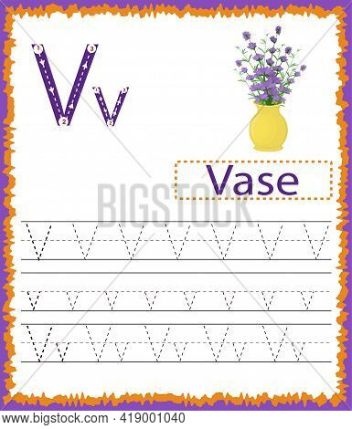 Vector Illustration Of Exercises With Cartoon Vocabulary For Kids. Colorful Letter V Uppercase And L
