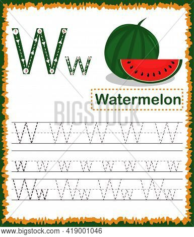 Vector Illustration Of Exercises With Cartoon Vocabulary For Kids. Colorful Letter W Uppercase And L